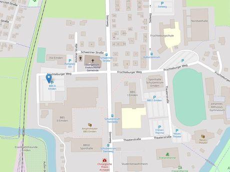 Zu sehen ist ein Kartenausschnitt von Open Streetmap, welcher den Standort des Parkplatzes an der BBS2 anzeigt