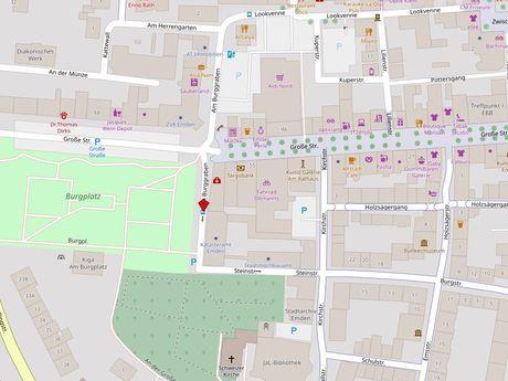 Zu sehen ist ein Kartenausschnitt von Open Streetmap, welcher den Standort des Behindertenparkplatzes in der Straße Am Burggraben anzeigt
