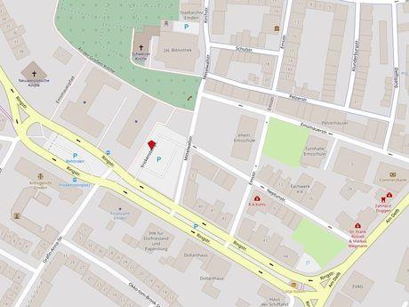 Zu sehen ist ein Kartenausschnitt von Open Streetmap, welcher den Standort des Behindertenparkplatzes auf dem Frickensteinplatz anzeigt