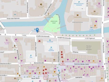 Zu sehen ist ein Kartenausschnitt von Open Streetmap, welcher den Standort des Busparkplatzes in der Jungfernbrückstraße anzeigt