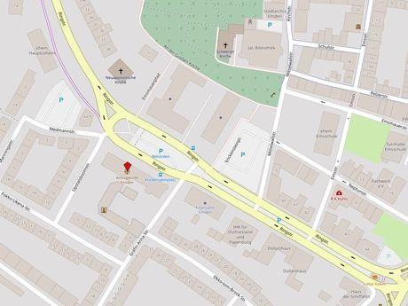 Zu sehen ist ein Kartenausschnitt von Open Streetmap, welcher den Standort des Busparkplatzes in der Ringstraße anzeigt