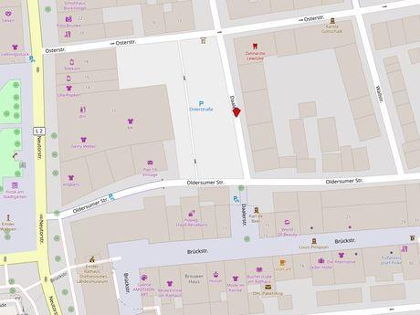 Zu sehen ist ein Kartenausschnitt von Open Streetmap, welcher den Standort des Behindertenparkplatzes in der Straße Daalerstraße anzeigt