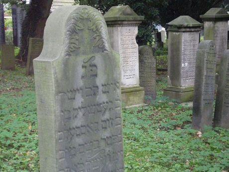 Zu sehen sind einige alte Grabsteine auf dem jüdischen Friedhof in Emden