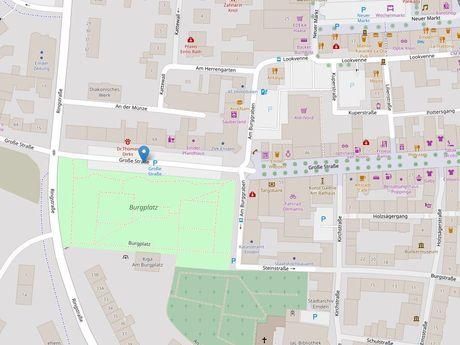 Zu sehen ist ein Kartenausschnitt von Open Streetmap, welcher den Standort des Parkplatzes in der Großen Straße anzeigt