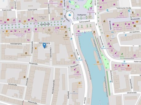 Zu sehen ist ein Kartenausschnitt von Open Streetmap, welcher den Standort des Parkplatzes in der Deichstraße anzeigt