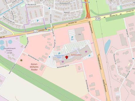 Zu sehen ist ein Kartenausschnitt von Open Streetmap, welcher den Standort des Behindertenparkplatzes am DollartCenter anzeigt
