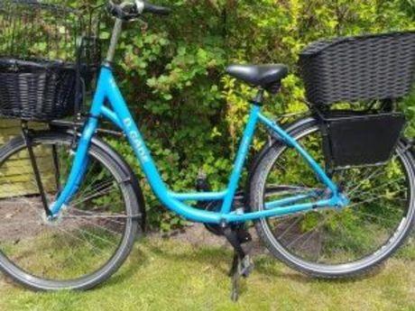Zu sehen ist ein blaues Leihrad der Firma Zweirad Gäde vor einem grünen Busch