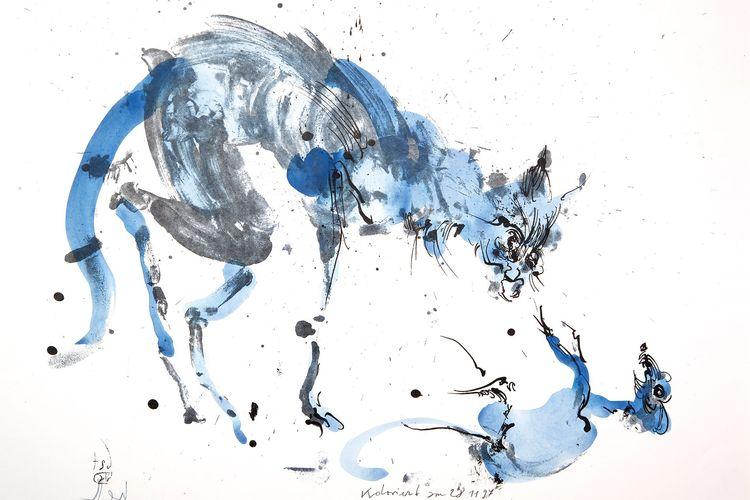 Zu sehen ist eine gemalte blaue Katze und eine gemalte blaue Maus