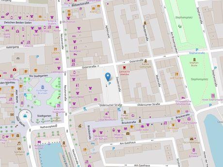 Zu sehen ist ein Kartenausschnitt von Open Streetmap, welcher den Standort des Parkplatzes in der Osterstraße anzeigt