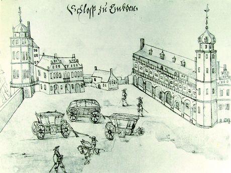 Zu sehen ist eine Zeichnung, wie der Burgplatz damals einmal aussah