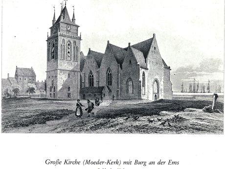 Zu sehen ist eine historische Zeicnung der Große Kirche