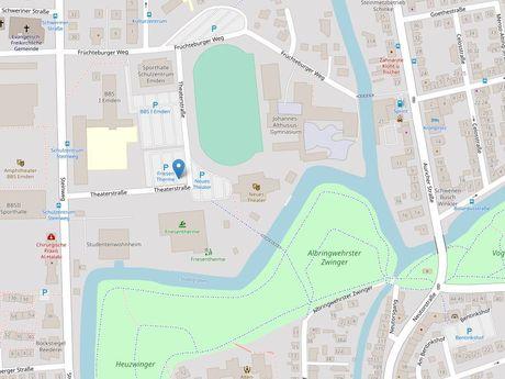 Zu sehen ist ein Kartenausschnitt von Open Streetmap, welcher den Standort des Parkplatzes an der Friesenbühne anzeigt