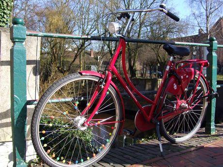 Zu sehen ist ein rotes Hollandrad vor einem grünen Zaun an einer Gracht in Emden