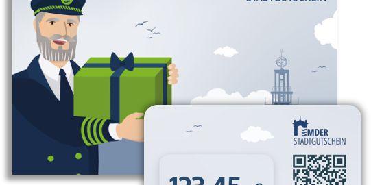 Zu sehen ist ein Umschlag und eine Geschenkkarte mit dem Logo des Emder Stadtgutscheins