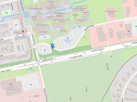 Zu sehen ist ein Kartenausschnitt von Open Streetmap, welcher den Standort des Busparkplatzes in der Teutonenmstraße anzeigt