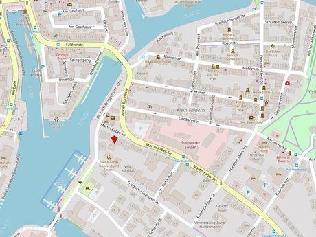 Zu sehen ist ein Kartenausschnitt von Open Streetmap, welcher den Standort des Busparkplatzes in der Straße Martin-Faber-Straße anzeigt