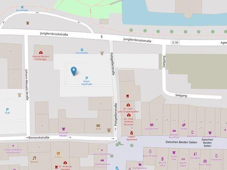 Zu sehen ist ein Kartenausschnitt von Open Streetmap, welcher den Standort des Parkplatzes in der Pottgiesserstraße anzeigt