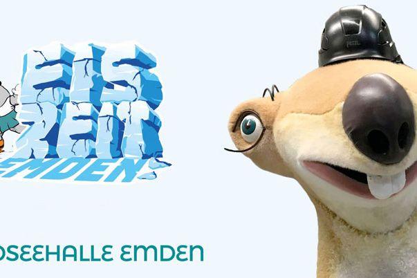 Zu sehen ist der Schriftzug Eiszeit und Nordseehalle Emden. Außerdem im Hintergrud ein Ottifant auf Schlittschuhen und Sid aus dem Film Eiszeit als Portrait