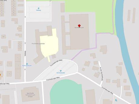 Zu sehen ist ein Kartenausschnitt von Open Streetmap, welcher den Standort des Busparkplatzes an der Nordseehalle anzeigt